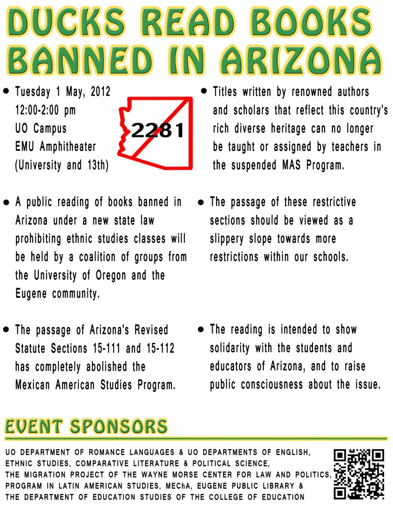 Ducks Read Books Banned In Arizona Department Of Romance Languages - Ethnic studies banned us map