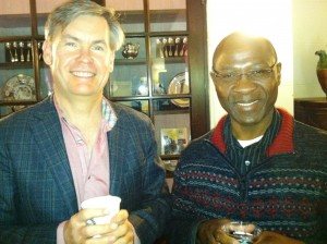 Professors Robert Davis and Andre Djiffack pause for a photo at the 2013 Spring Social