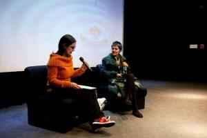 Mariko Plescia interviewing Firouzeh Khosrovani at EDOC 2015 film festival.