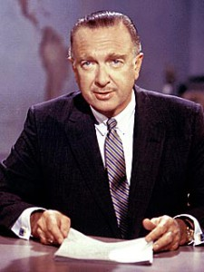 Walter Cronkite pictured as the anchorman for CBS evening news, a position he held for nearly 20 years.