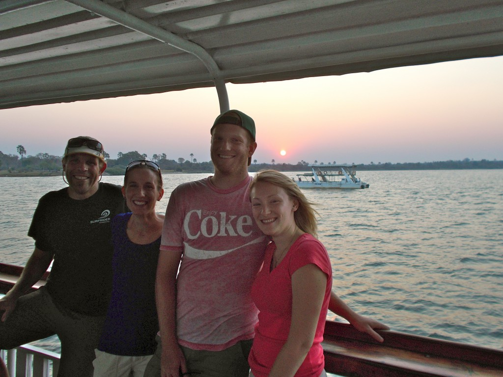 Our lab group enjoying a relaxing evening on the Zambezi River in Zambia after an eventful conference.
