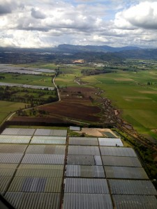 aerial shot greenhouse outside Bogota