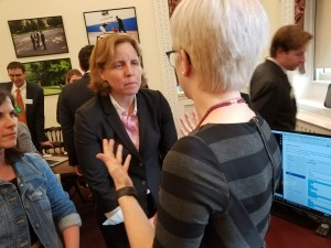 Monika Lind discusses the E.A.R.S. tool with U.S. Chief Technology Officer Megan Smith