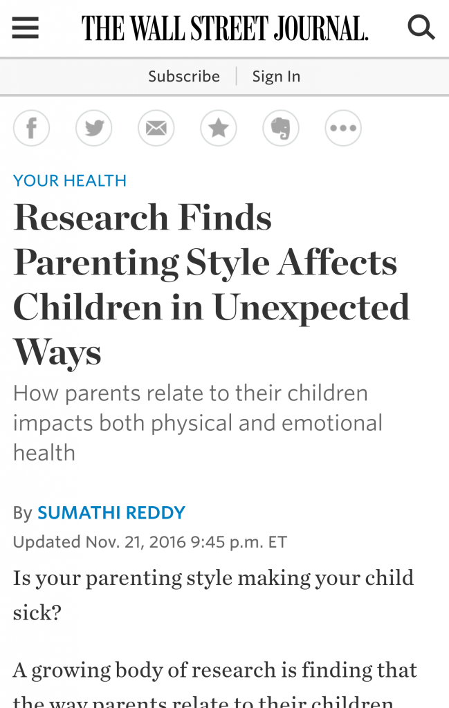 Article in the Wall Street Journal Health section on Byrne, et al. paper in Journal of Family Psychology (https://www.ncbi.nlm.nih.gov/pubmed/27819440)