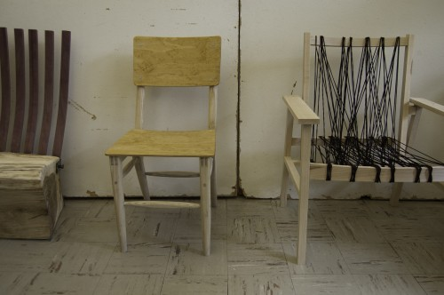 Finished chairs await critique at the final review