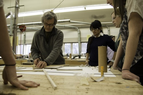 Nils-Ole Zib teaches his studio in the wood shop