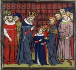 Charlemagne instructing Louis the Pious. Grandes Chroniques de France, France, Paris (BnF Français 73, fol. 128v) Source: Wikipedia