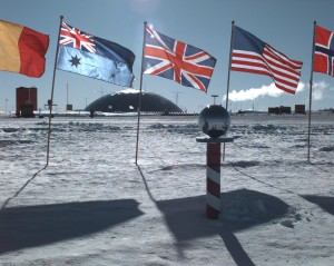 "The ""ceremonial"" South Pole, atAmundsen–Scott Station Source: Wikipedia"