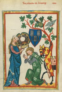 Konrad von Limpurg as a knight being armed by his lady in the Codex Manesse (early 14th century)  Source: Wikipedia