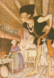 I smell a 'cristanuzu' Illustration by Arthur Rackham, 1918, in English Fairy Tales by Flora Annie Steel (source: Wikipedia)