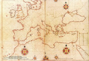 "Piri Reis map of Europe and the Mediterranean Sea"" by Piri Reis (circa 1467 - circa 1554) - Library of Istanbul University. No:6605. Source: Wikimedia"