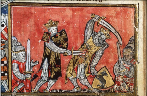 "Medieval caricature of the Alexander-Porus battle (""Alexander defeats King Porus in single combat""(West Flanders; c. 1325-1335) (Source: 2nd Look)"