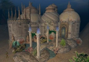 This underwater castle in the online world Secondlife can be yours for only L$4,500