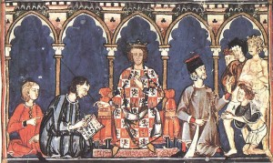 Alfonso X as a judge, from his Libro de los dados, completed ca. 1280. Source: Wikipedia