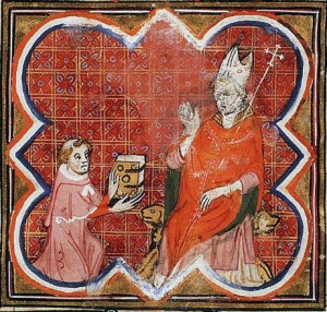 Petrus Comestor presents the Bible Historiale to Archbishop Guillaume of Sens in the Bible Historiale Complétée (ca. 1370-1380). Source: wikipedia