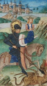 St. George slays the dragon in the De Grey Hours (Flanders, late 14th c.) f.31v (Wikimedia)