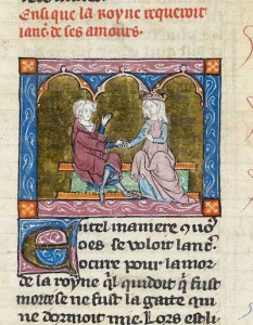 True, but not Real [Lancelot and Guinevere, north-eastern France or Flanders (St Omer or Tournai), 1316, Additional 10293, f. 199. source: British Library, Medieval Manuscripts blog]