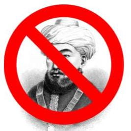 Portrait of Maimonides with banned symbol covering his face