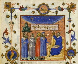 Folio 227v of the Copenhagen Maimonides held by the Danish Royal Library. Maimonides is pictured seated before four students with his hand pointing toward the work's title