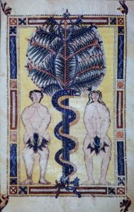 Illuminated manuscript page showing Adam and Eve with fig leaves covering genitals