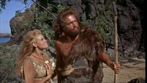 Still from One Million Years BC with Raquel Welch and John Richardson dressed in animal skins