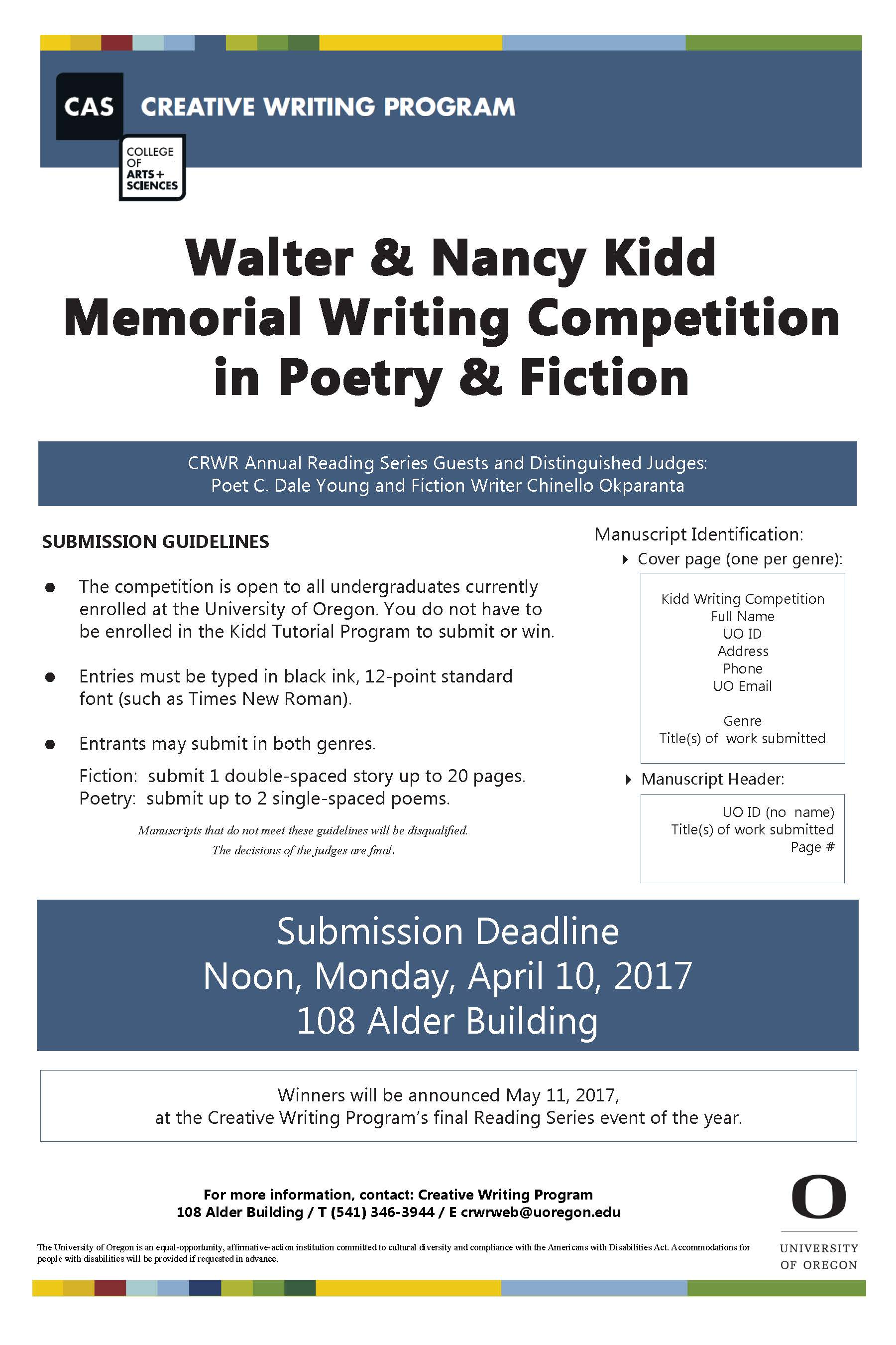 kidd writing competition creative writing program this contest is judged by guest authors participating in the creative writing program s annual reading series spring term winners are announced during