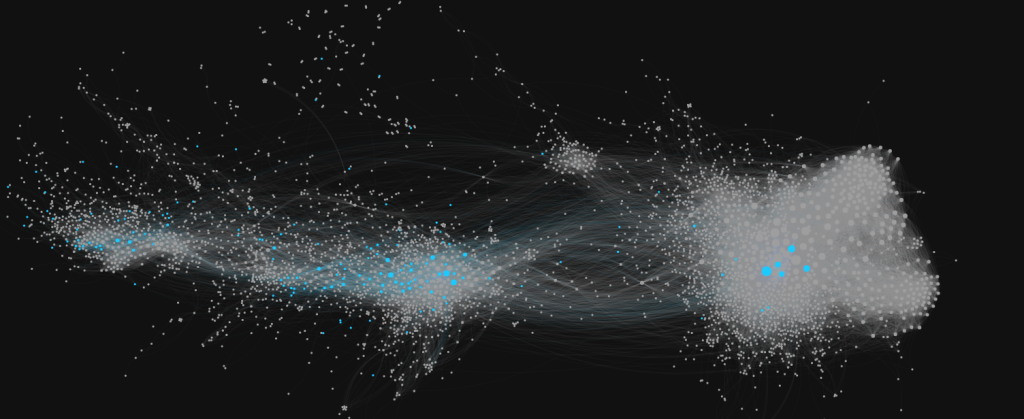 The co-retweeted network partitioned by verified vs. unverified accounts.  Verified accounts are shown in blue.