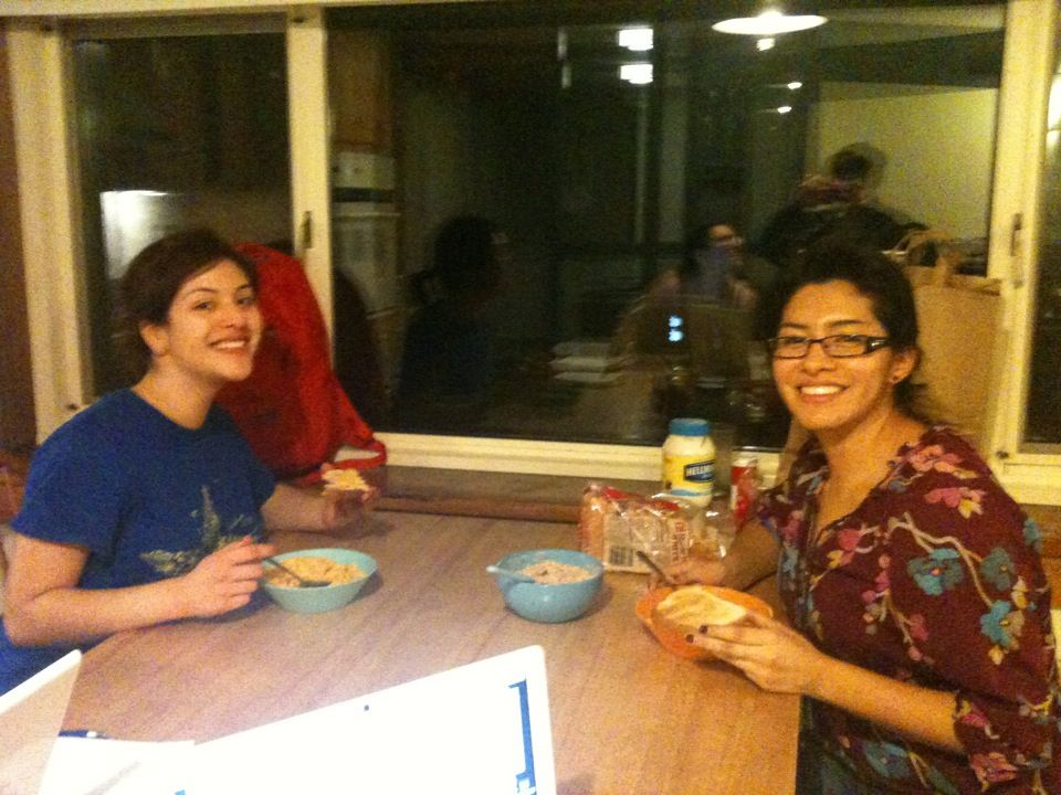 Eating dinner with my friend Johanna (She took Italian during Wintersession)