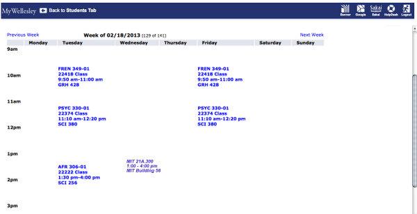 My updated class schedule!