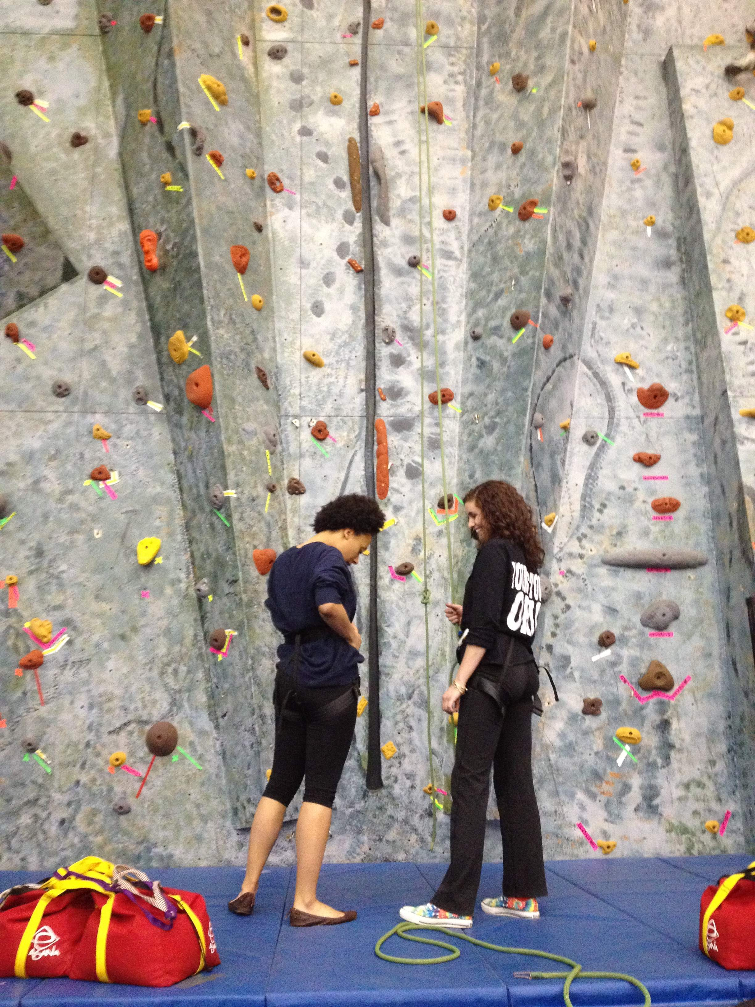 Julie and I getting ready to climb the wall.