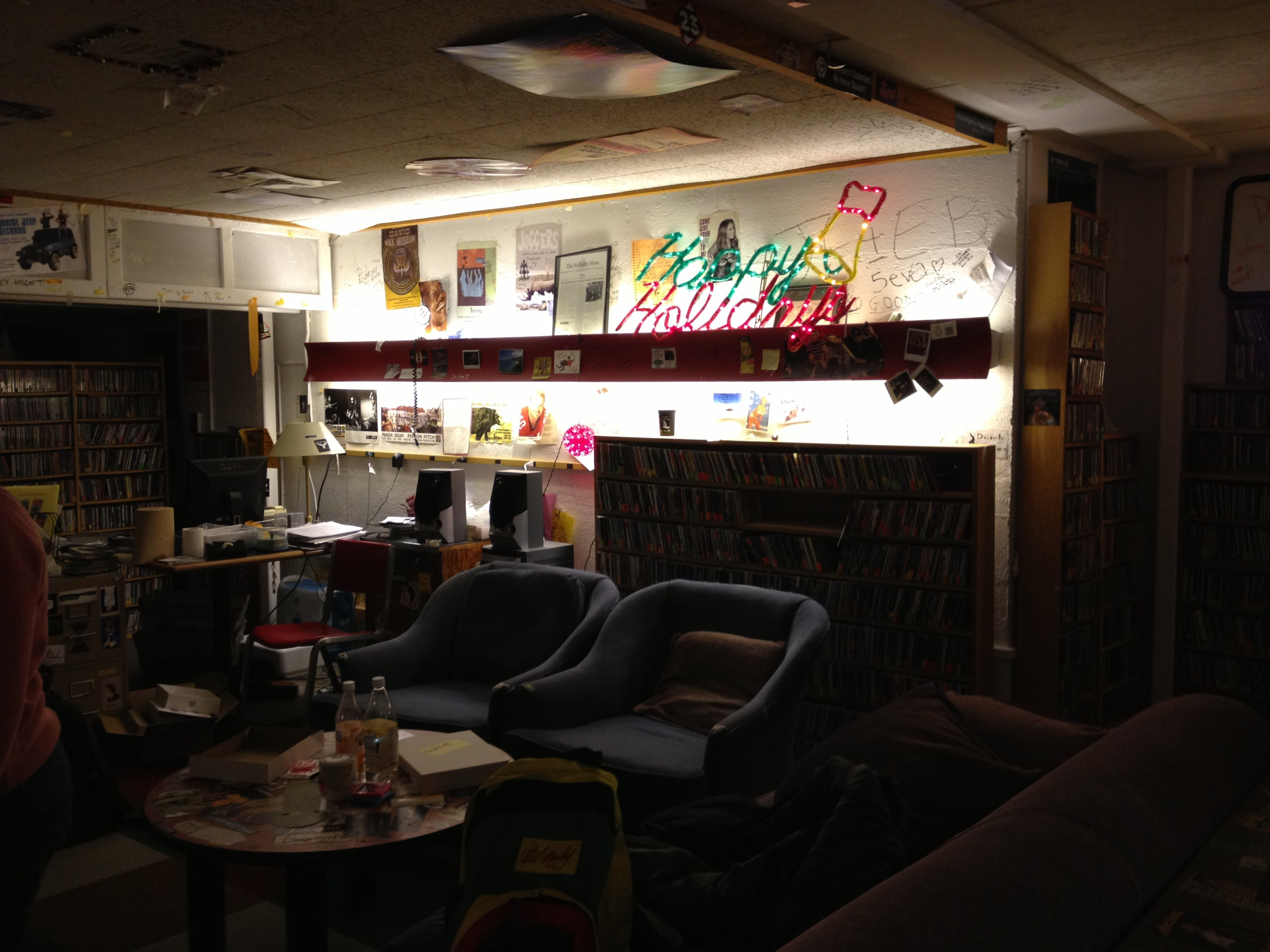 Living room at WZLY, Wellesley's radio station. Located in the basement of Billings Hall.