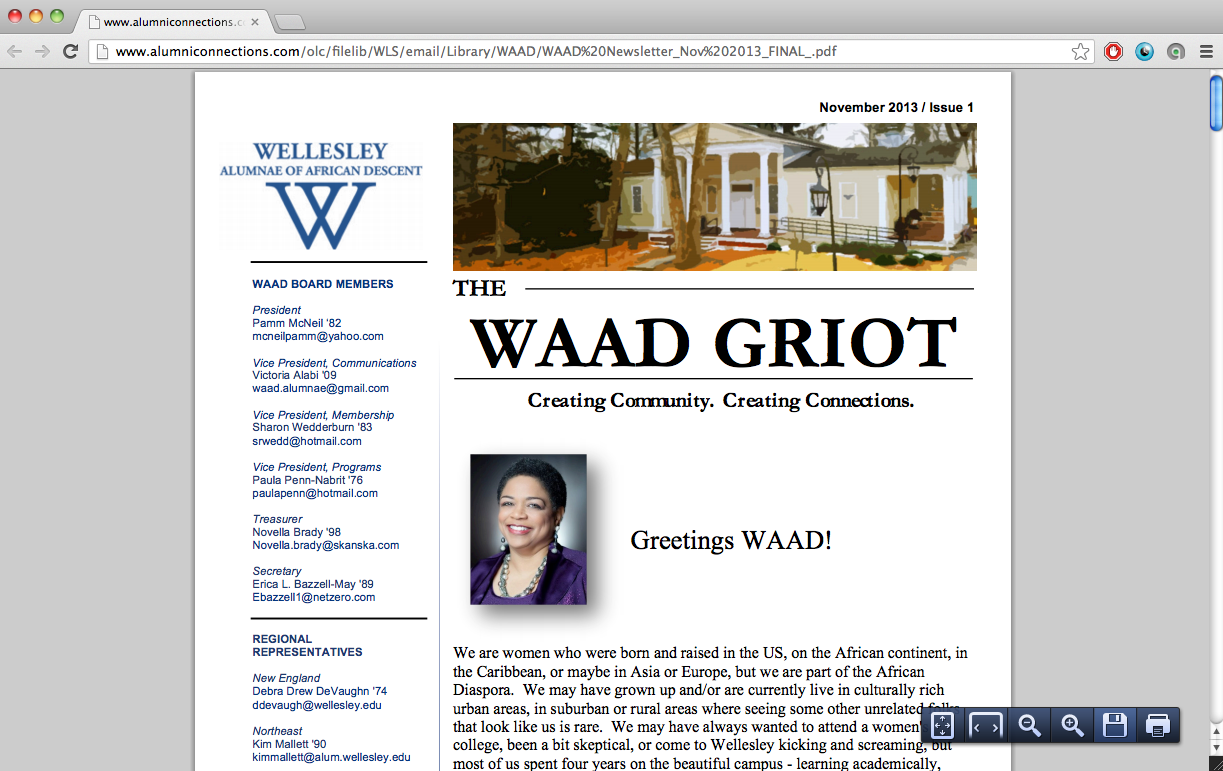 Screenshot of the 1st WAAD Griot newsletter designed by Victoria Alabi (WC '09) featuring yours truly :)