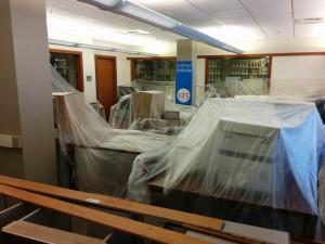 The archives in Clapp Library after the leak