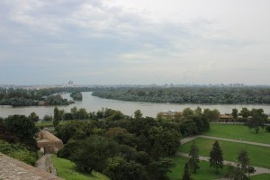A view of the rivers Sava and Danube where they meet in front of Belgrade's fortress, Kalemegdan. Photo cred: SIT Balkans