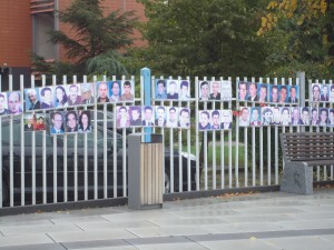 These are a few of the pictures hanging in downtown Priština to remind passersby that more than 1700 civilians are still missing after the war.