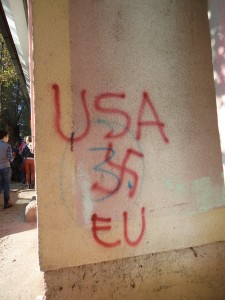 "Graffiti in northern Mitrovica,which is inhabited by Serbian Kosovars. Many conservative Serbs (in Kosovo as well as Serbia) still consider Kosovo part of Serbia and condemn international intervention for ""taking"" Kosovo away."