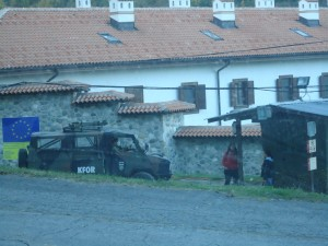 KFOR forces gathering for a shift outside of Visoki Dečani Monastery, which has been attacked several times (most recently in 2007).