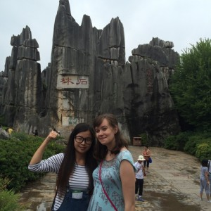 Caitlin with her language partner in the Stone Forest