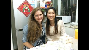 Michelle and Wu Xiaoqu (Language Partner) after dinner
