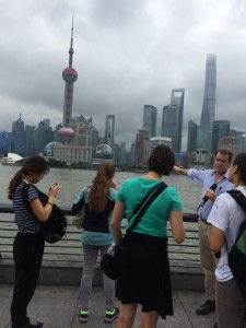 Whitman students along the Bund in Shanghai during briefing by architect Spencer Dodington