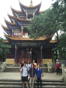 Whitman students at Bell Tower of Golden Temple