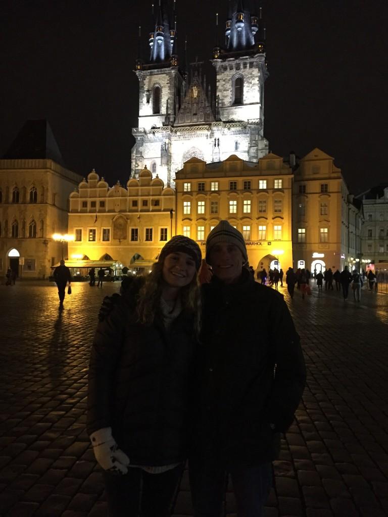 Dad and I in Old Town Square (Staromestska Namesti)