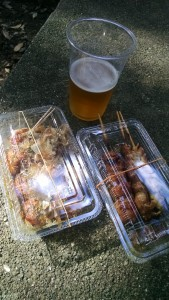 OBSERVE MY BOUNTY Fried octopus balls, teriyaki chicken, and a beer.