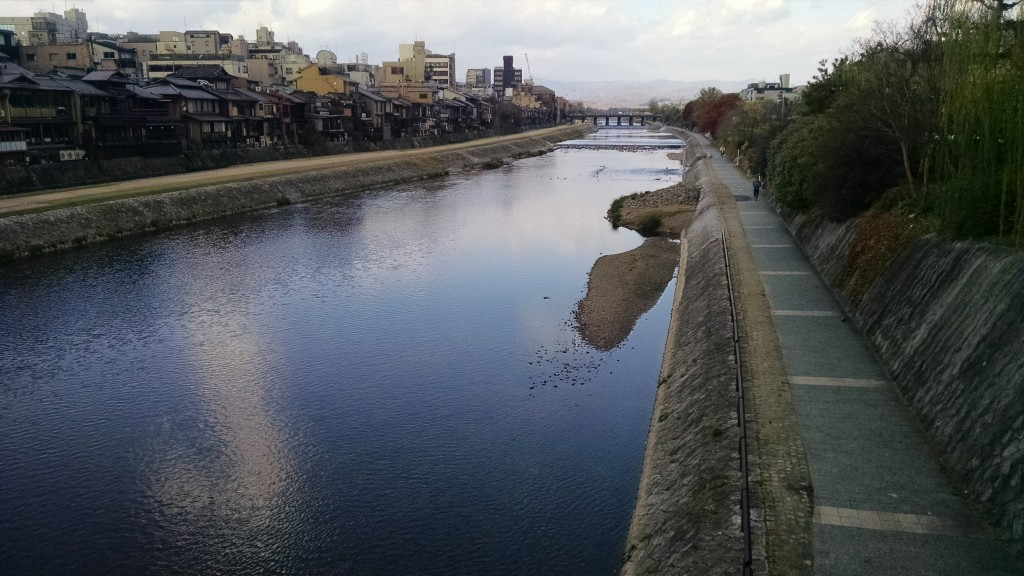 The Kamogawa! Had to take a picture. It's getting darker more quickly here, but it makes for some great lighting.