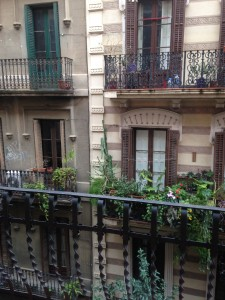 The view from the balcony of my Airbnb apartment in the Gracia district