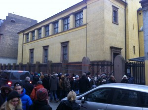 view of the synagogue (site of second shooting) Monday afternoon