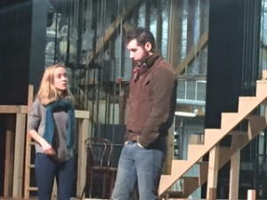 Roxanne Stathos and Noah Yaconelli rehearse a scene together
