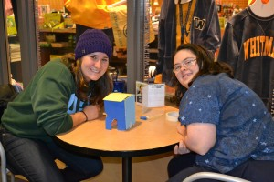 Rachel Brock '16 and her community buddy Rachel got especially creative, making a birdhouse out of the supplies they were given!