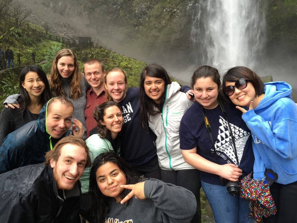 The group at Multnomah Falls on their way to Portland!
