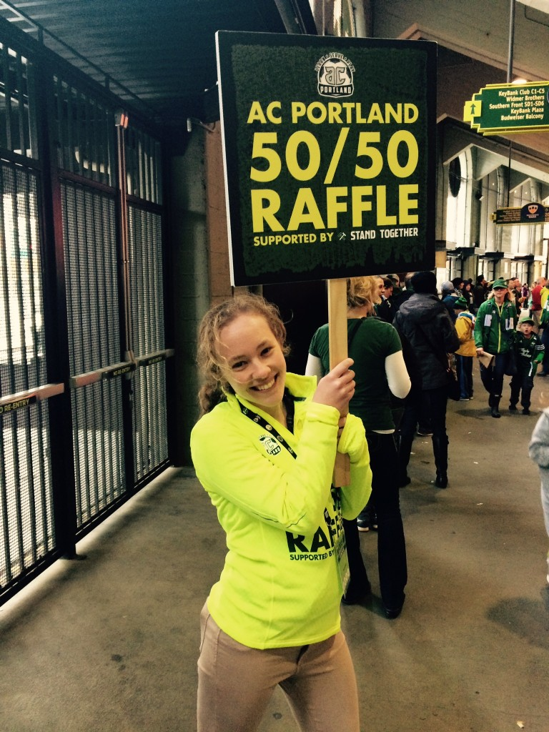 First year, Christy Carley, getting ready to sell 50/50 raffle tickets for AC Portland.